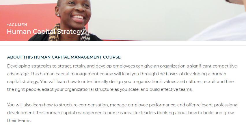 Human capital managing course