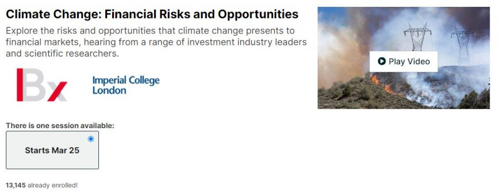 Climate change Financial Risk and opportunities