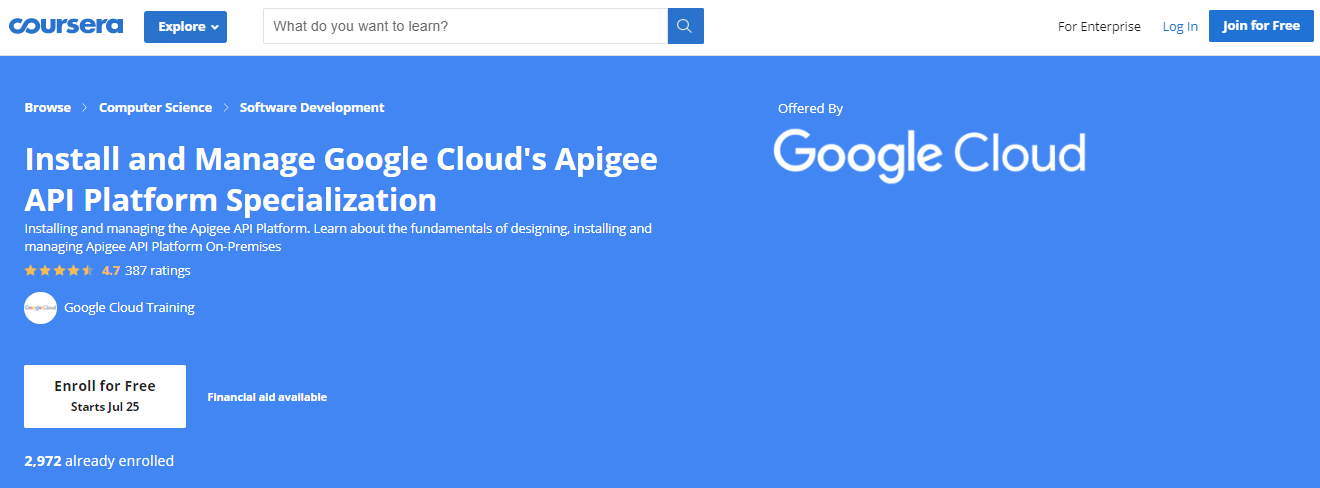 Install and Manage Google Cloud's Apigee API Platform Specialization