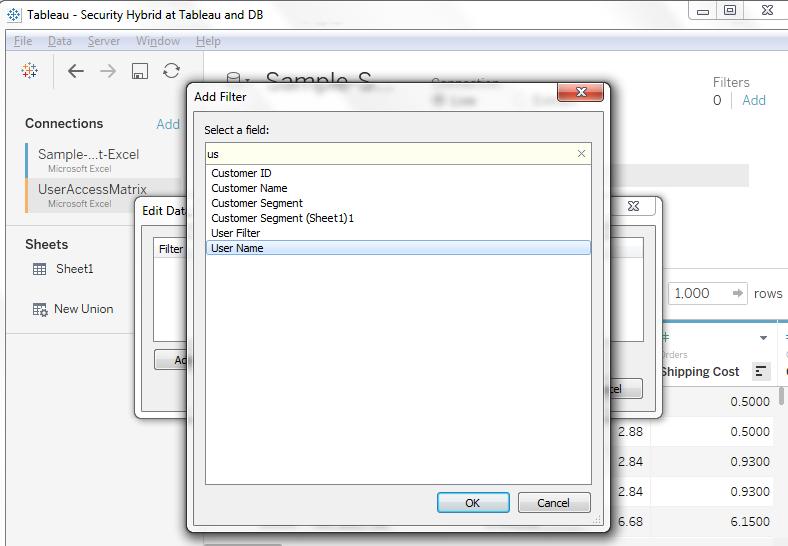 User based security in tableau