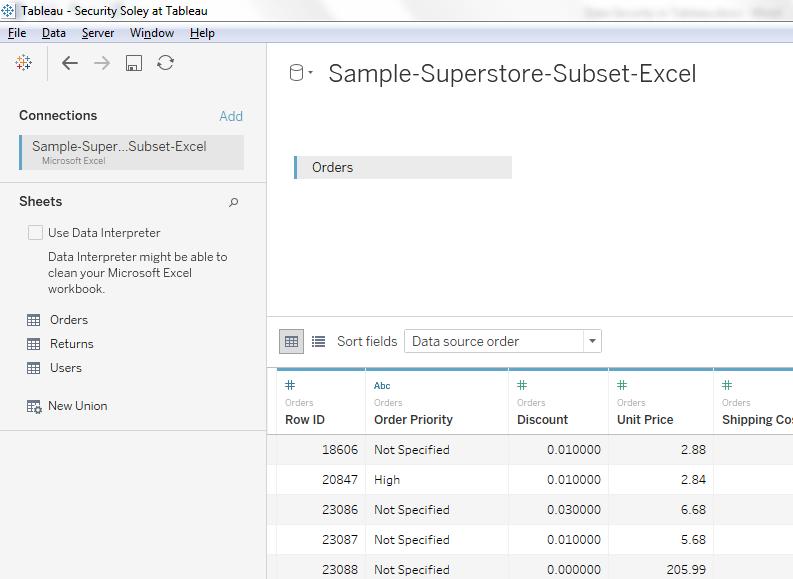 Super Store Subset Excel Tableau