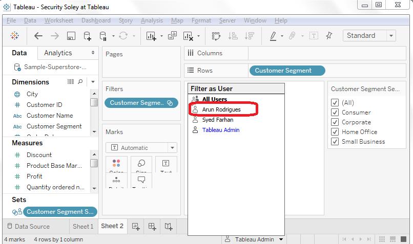 Tableau Database Users List