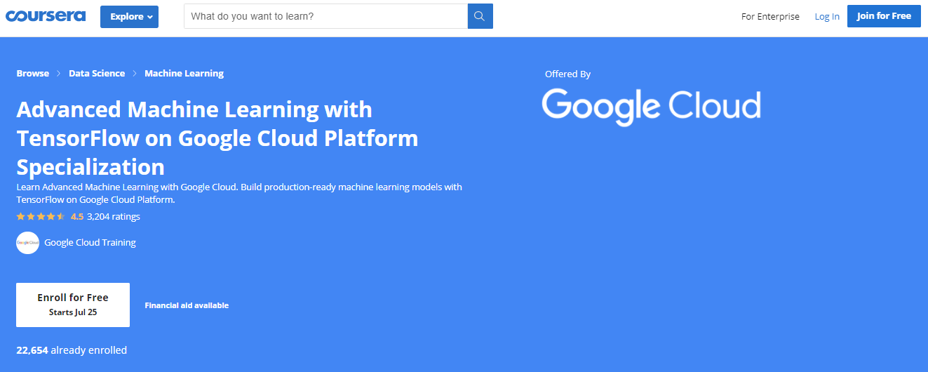 Advanced Machine Learning with TensorFlow on Google Cloud Platform Specialization