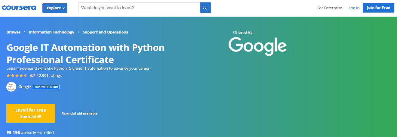 Google Digital Garage-IT Automation with Python Professional Certificate