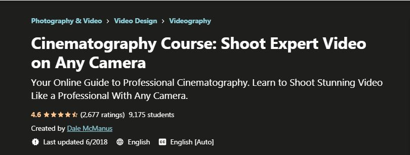 Cinematography Course Shoot Expert video on Any Camera
