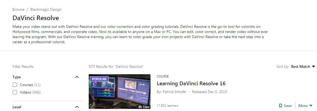 DaVinci Resolve Course and Training