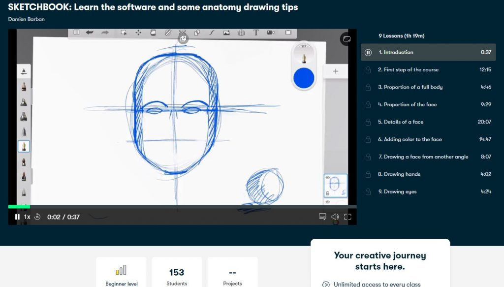 SKETCHBOOK learn the software and some anatomy drawing tips