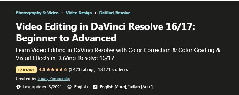 Video editing in davinci resolve 16 17 beginner to advanced