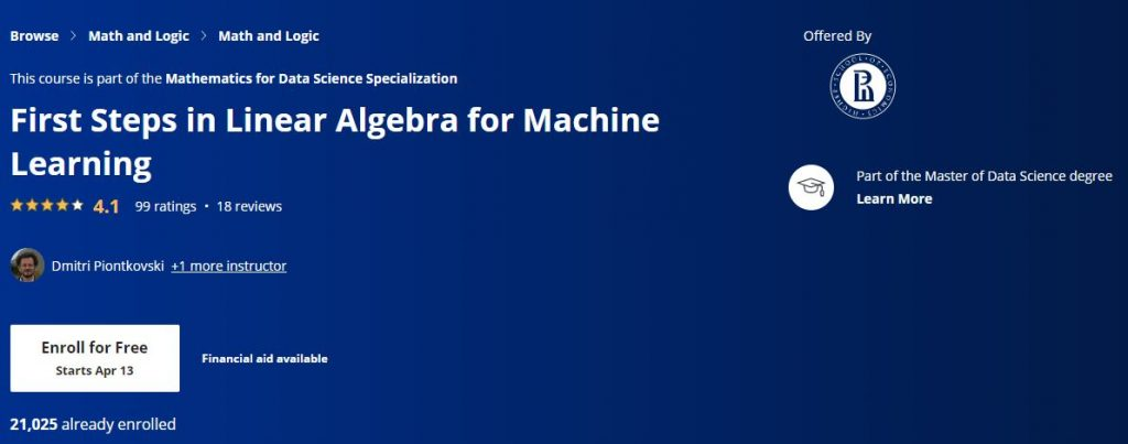 First Steps in Linear algebra for Machine learning