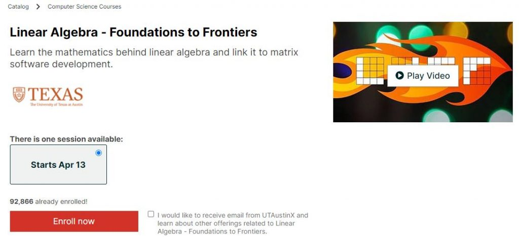 Linear Algebra Foundation to Frontiers