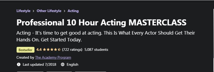 Professional 10 Hour actin masterclass