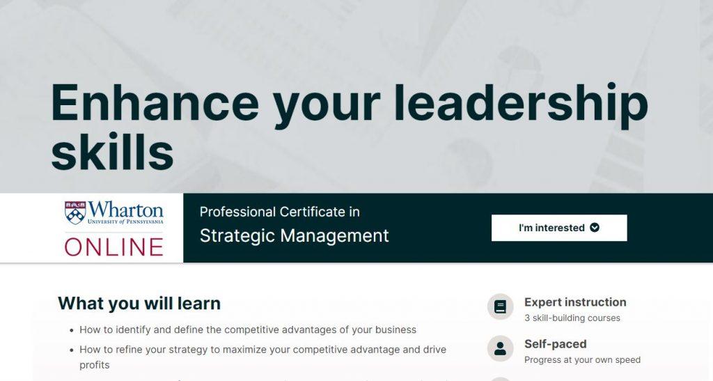 Professional certificates in strategic management