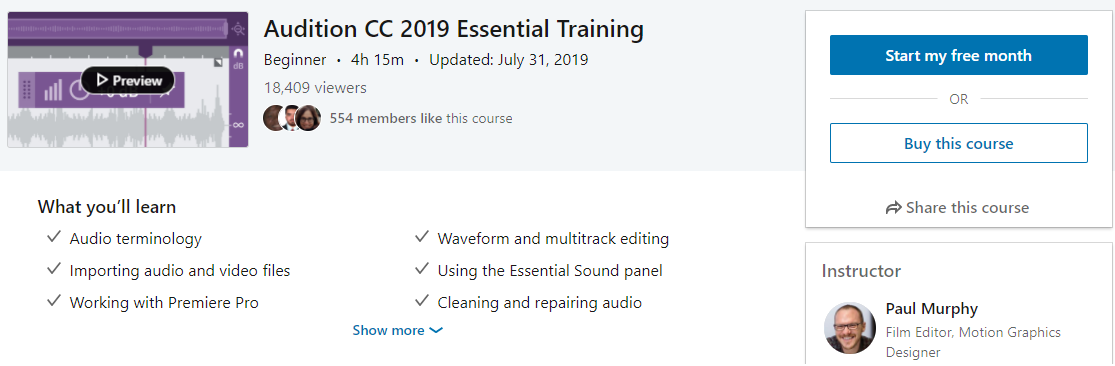 Online Adobe Audition Course