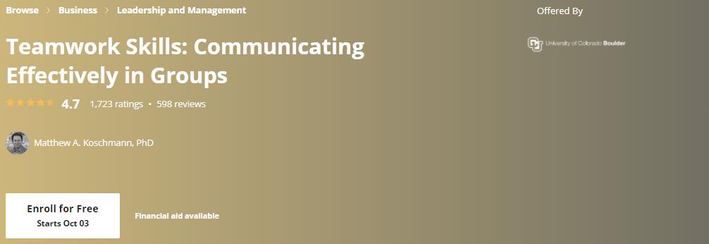 Teamwork Skills: Communicating Effectively in Groups