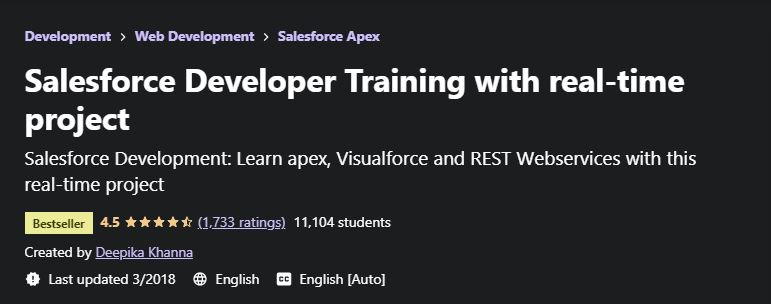 SAlesforce developer training with realtime project