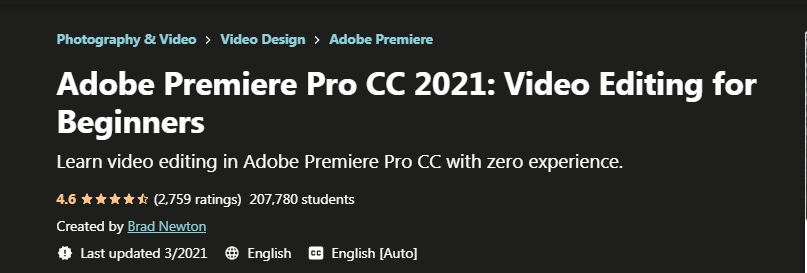 Adobe Premiere Pro CC 2021 Video Editing for Beginners