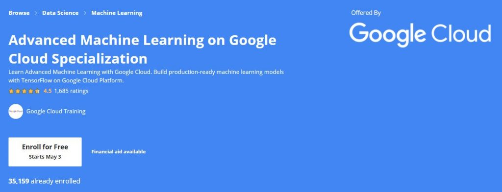 Advanced Machine Learning on Google Cloud Specialization