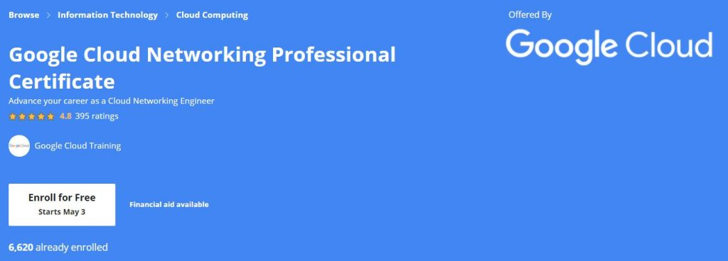 Google Cloud Networking Professional certificate