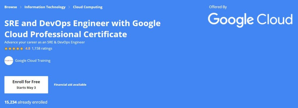 Sre and Devops Engineer with google Cloud professional certificate