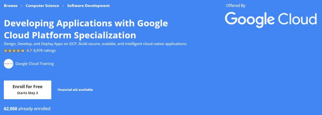 developing Application with google cloud platform Specialization
