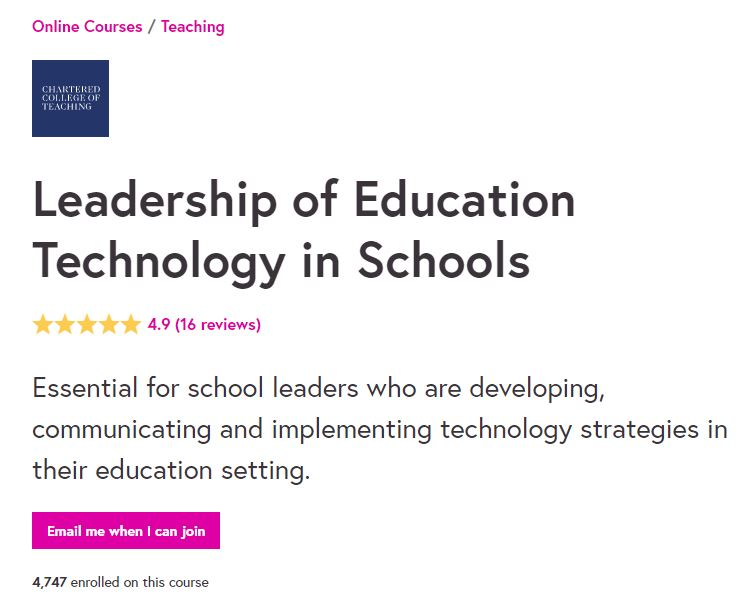 Leadership of education technology in schools