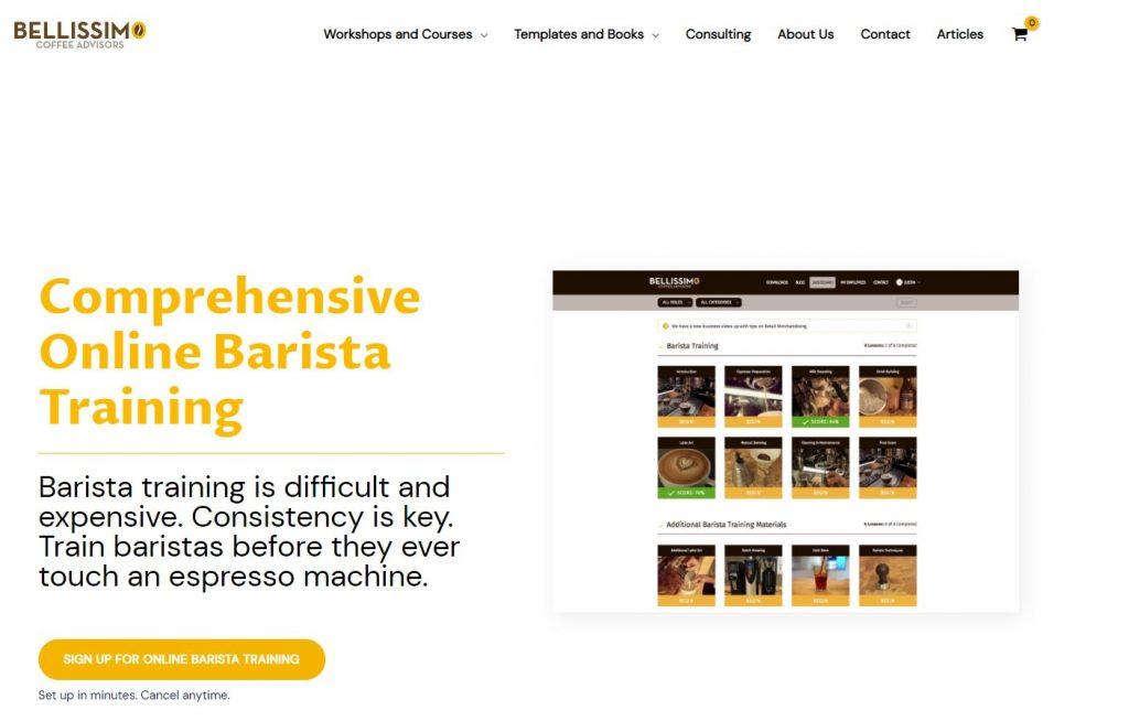 Comprehensive online Barista training