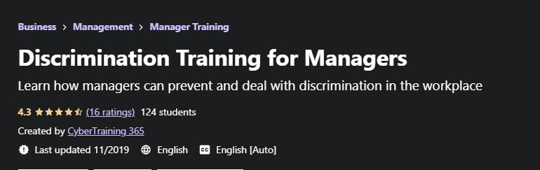 Discrimination training for managers